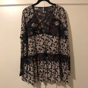 Free People Sheer Floral Tiered Top